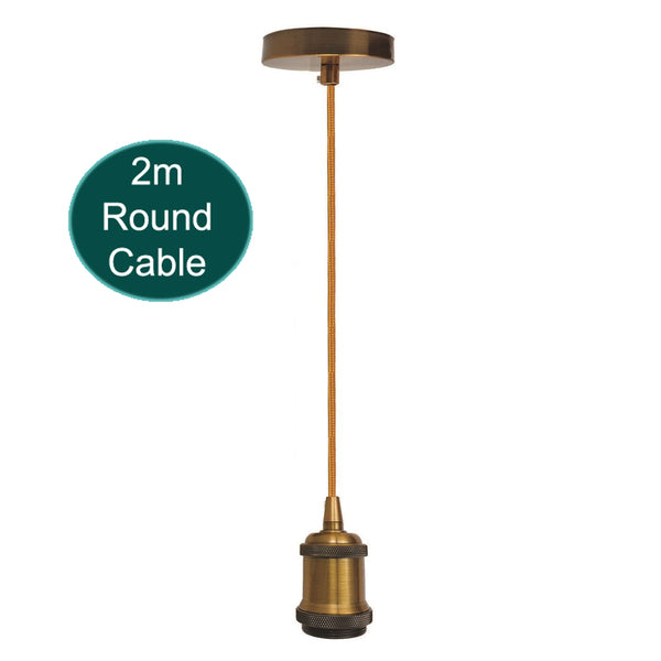 2m Round Cable E27 Base Yellow Brass Holder