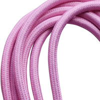 3 core Round Colour braided lighting Fabric Baby Pink Cable - Shop for LED lights - Transformers - Lampshades - Holders | LEDSone UK