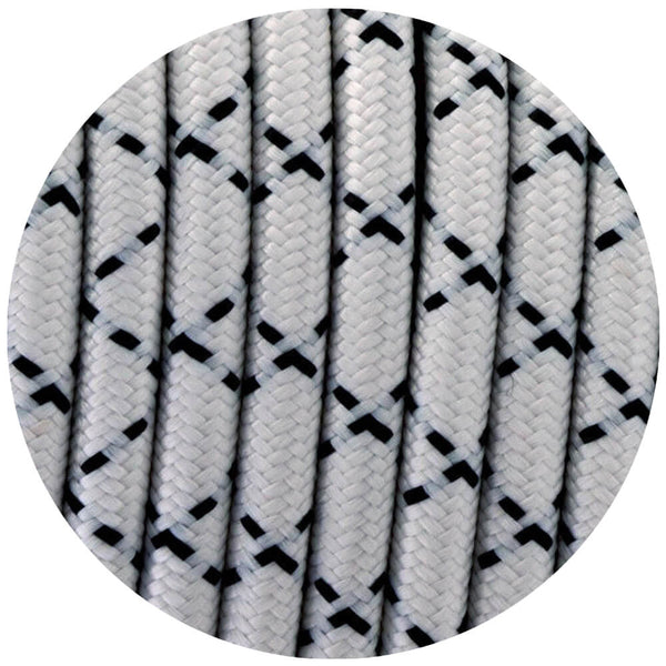 3 core Round Vintage Braided Fabric Black and White X Printed Coloured Cable Flex 0.75mm - Shop for LED lights - Transformers - Lampshades - Holders | LEDSone UK