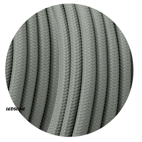 3 Core Round Vintage Grey Italian Braided Fabric Cable Flex 0.75mm UK - Shop for LED lights - Transformers - Lampshades - Holders | LEDSone UK