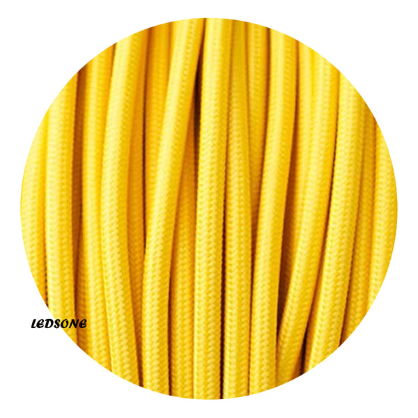3 core Round Vintage Braided Fabric Yellow Cable Flex 0.75mm - Shop for LED lights - Transformers - Lampshades - Holders | LEDSone UK
