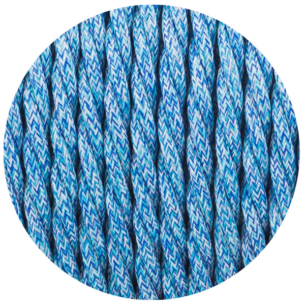 3 Core Twisted Blue Multi Tweed Vintage Electric fabric Cable Flex 0.75mm - Shop for LED lights - Transformers - Lampshades - Holders | LEDSone UK