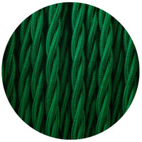 3 Core Twisted Dark Green Vintage Electric fabric Cable Flex 0.75mm - Shop for LED lights - Transformers - Lampshades - Holders | LEDSone UK