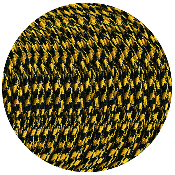 3 Core Twisted Yellow and Black Houndstooth Twisted Multi Tweed Vintage Electric fabric Cable Flex 0.75mm - Shop for LED lights - Transformers - Lampshades - Holders | LEDSone UK