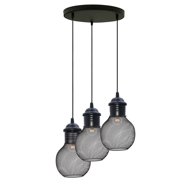 3 Way Pendant Light Wire Cage Black (1)