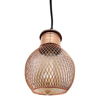 3 Way Pendant Light Wire Cage Rose Gold (2)