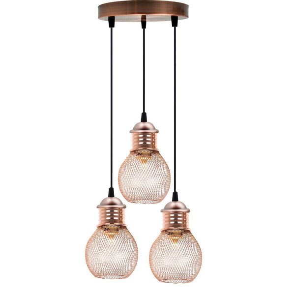 3 Way Pendant Light Wire Cage Rose Gold (4)