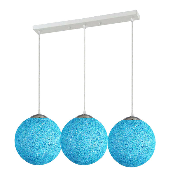 Blue Style Rattan Wicker Ceiling Pendant Lampshade Hanging Decoration Lamp