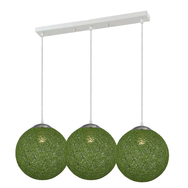 Green Chandeliers Ceiling Lights Nordic Creative Round Hemp Ball Hand Woven Rattan