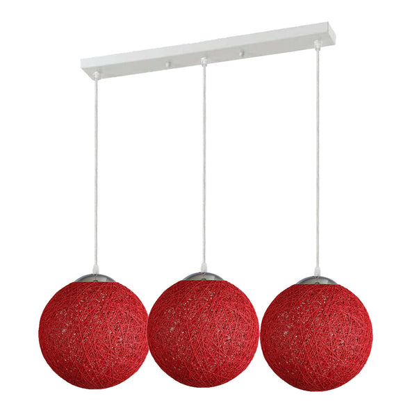 3 Head Red Bamboo Retro Hanging Light Fixtures Wicker Pendant Light Living Room