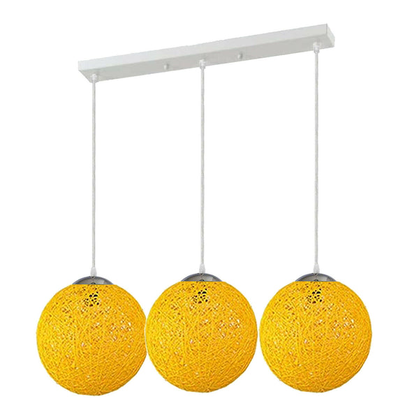 Yellow Three Outlet Ball Industrial Ceiling Lamp