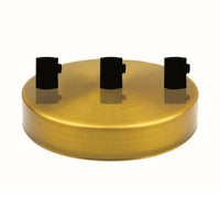 3 Outlet Yellow Brass Metal Ceiling Rose 120x25mm - Shop for LED lights - Transformers - Lampshades - Holders | LEDSone UK
