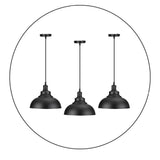 3 Pack Vintage Industrial Retro Ceiling Pendant Light Lampshade Black Metal Light Shade - Shop for LED lights - Transformers - Lampshades - Holders | LEDSone UK