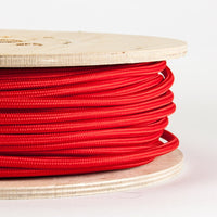3 core Round Vintage Braided Fabric Red coloured Cable Flex 0.75mm - Shop for LED lights - Transformers - Lampshades - Holders | LEDSone UK