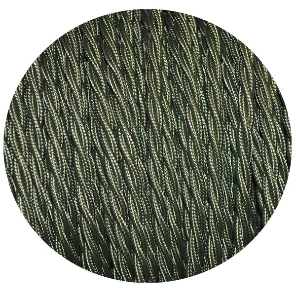 2 Core Twisted Electric Cable Army Green colour 5m fabric 0.75mm