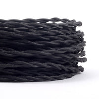 2 Core twisted Vintage fabric cable flex Black