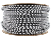 3 core Round Vintage Braided Fabric Black and White Cable Flex 0.75mm - Shop for LED lights - Transformers - Lampshades - Holders | LEDSone UK