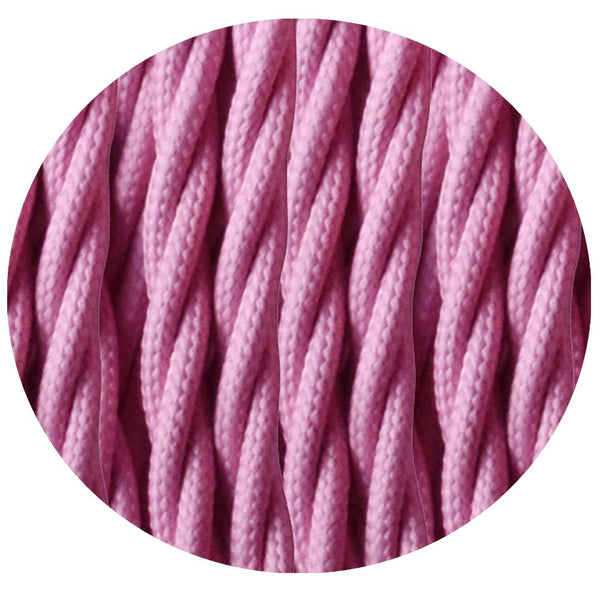 2 Core Twisted Electric Cable Baby Pink colour 5m fabric 0.75mm