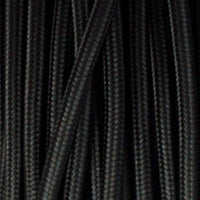 3 core Round Vintage Braided Fabric Cable Flex 0.75mm  Black - Shop for LED lights - Transformers - Lampshades - Holders | LEDSone UK
