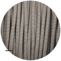 2core round vintage fabric cable flex black and white coloured1