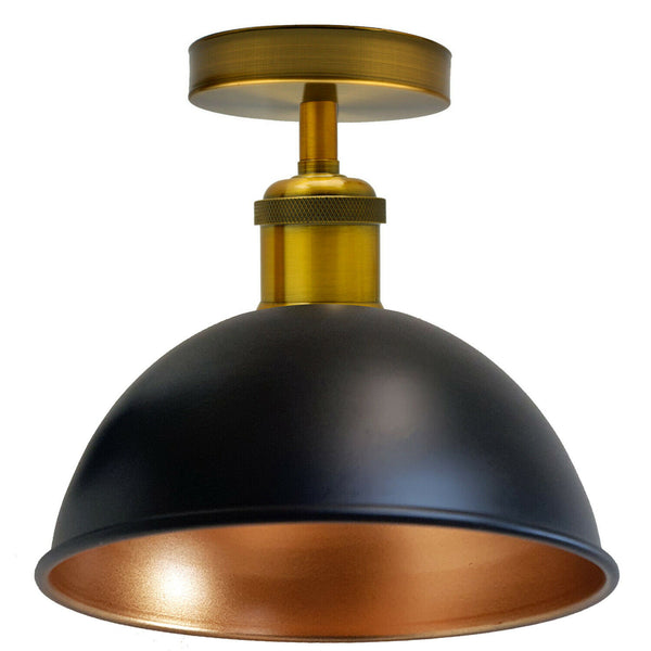 Black Gold Inner Vintage Retro Flush Mount Ceiling Light Rustic Color Metal Lampshade