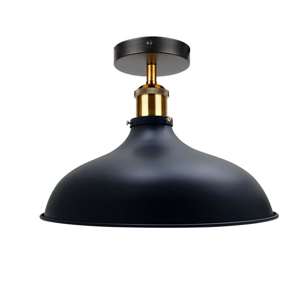 Black Modern Vintage Flush Mount Brass Black Scone Ceiling Light Shade