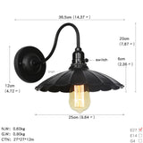 Black Retro Vintage Industrial Wall Mounted Light Rustic Sconce Lamp Fixture