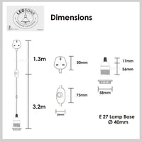 Black and White Color Dimmer Switch 4m Fabric Flex Cable Plug In Pendant Lamp E27 Holder