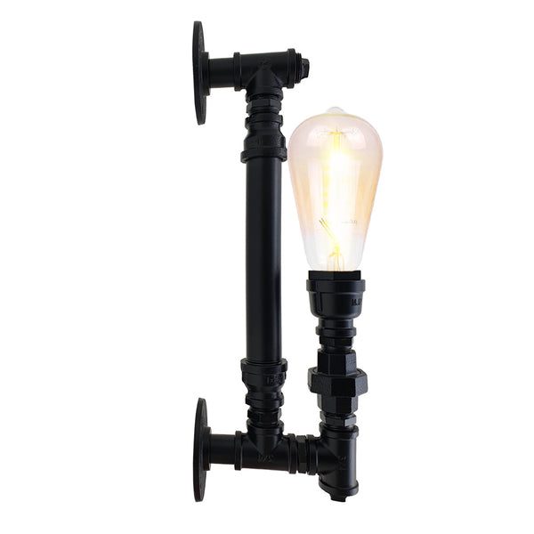 Black Steel Pipe Wall Vintage Industrial Retro Style Lamp Light
