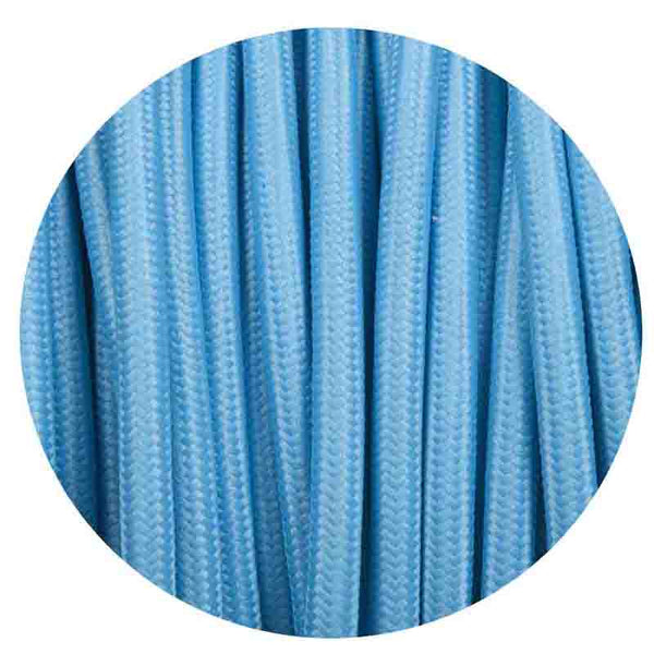 0.75mm 2 core Round Vintage Braided Light Blue Fabric Covered Light Flex - Shop for LED lights - Transformers - Lampshades - Holders | LEDSone UK