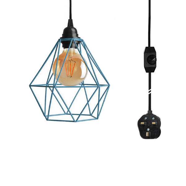 Dimmer Switch Plug In Pendant Lamp Light Set With Blue Wire Cage