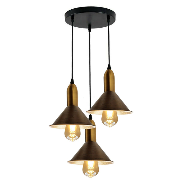 Brushed Copper 3 Point Multi Drop Outlet Ceiling Light