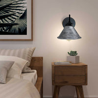 Brushed Silver Lampshade With Black Arm Wall Light