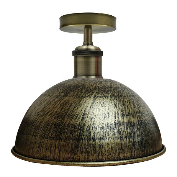 Brushed Brass Vintage Retro Flush Mount Ceiling Light Rustic Colour Metal Lampshade