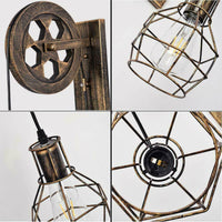Brushed Copper Vintage Wheel Wall Light Retro Water Pipe Wall Lights Loft