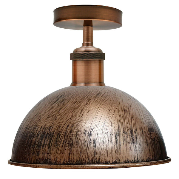Brushed Copper Vintage Retro Flush Mount Ceiling Light Rustic Color Metal Lampshade