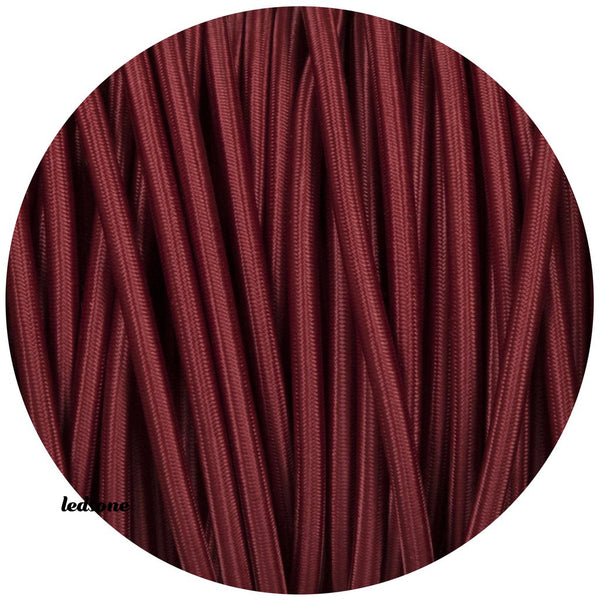 3 core Round Vintage Braided Fabric Burgundy Cable Flex 0.75mm - Shop for LED lights - Transformers - Lampshades - Holders | LEDSone UK