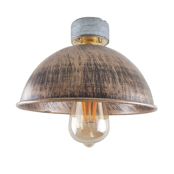 Brushed Copper Ceiling Light Lampshade Fitting Industrial Design B22 Lighting