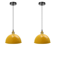 Yellow Retro Pendant Light Industrial Lights 40cm Metal Shade Chandelier