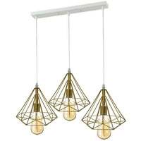 3 Head Gold Ceiling Pendant Lights Lampshade