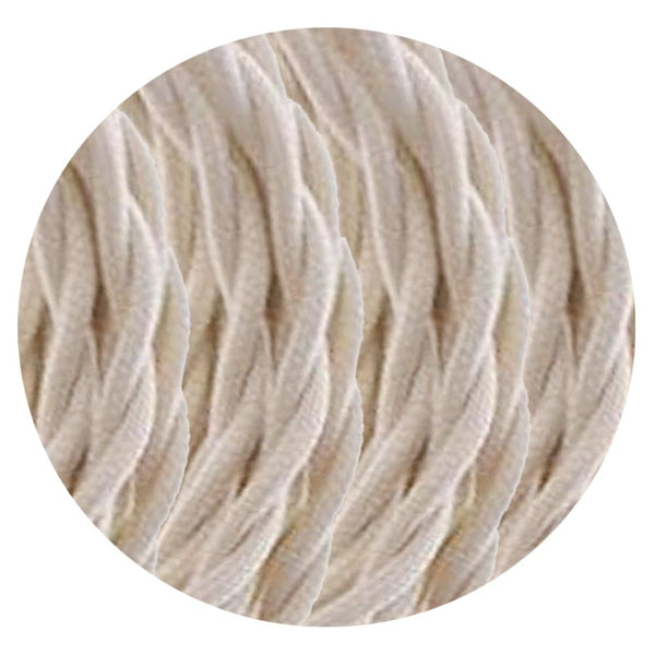 2 Core Twisted Electric Cable Cream colour 5m fabric 0.75mm