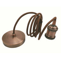 2m Brown Round Cable E27 Base Copper Holder