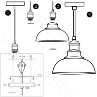 Retro Pendant Light Shade Vintage Industrial Ceiling Lighting LED Restaurant Loft With Free Bulb