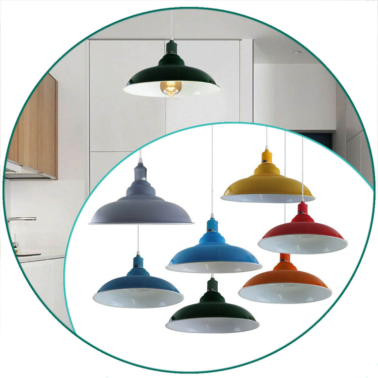 Colours Industrial Retro Loft Metal Ceiling Lamp Shade Pendant Light