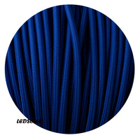 3 Core Round Vintage Italian Braided Fabric Cable Flex 0.75mm Dark Blue UK - Shop for LED lights - Transformers - Lampshades - Holders | LEDSone UK