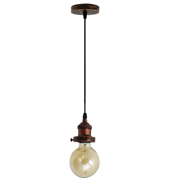 E27 Ceiling Rose Light Fitting Vintage Industrial Pendant Lamp Bulb Holder Light - Rustic Red