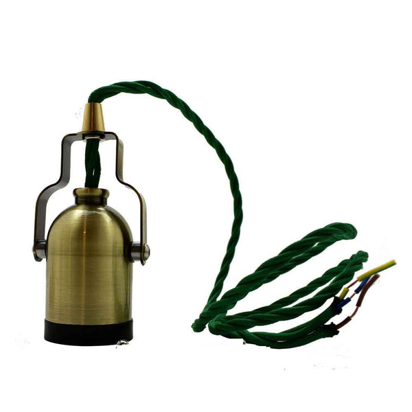 E27 Green Brass Colour Bell Handle Holder Fabric 3 Core Twished Army Green Colour 1m Cable Pendant Set