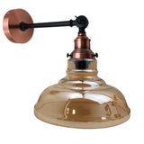 Glass Wall Light Retro Loft Style Lighting Amber Glass Shade Vintage Industrial