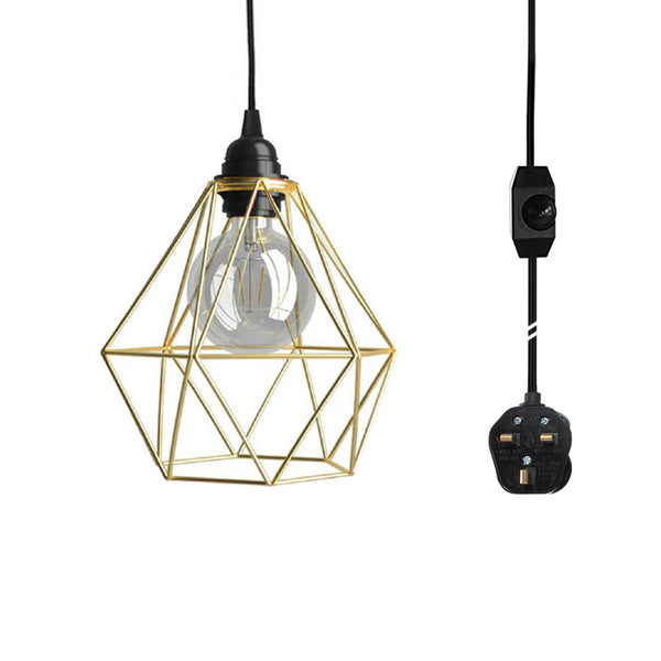 Gold Wire Cage Pendant Light Plug in Vintage Pendant Light with Dimmer Switch