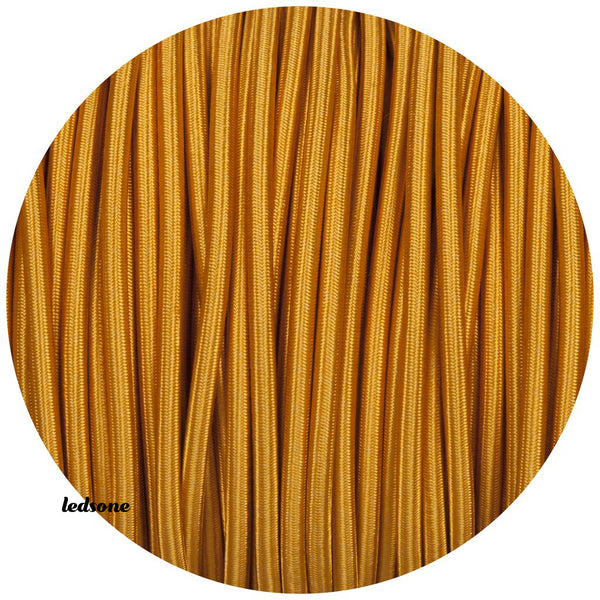 2 core Round Vintage Braided Fabric Gold Coloured Cable Flex 0.75mm - Shop for LED lights - Transformers - Lampshades - Holders | LEDSone UK